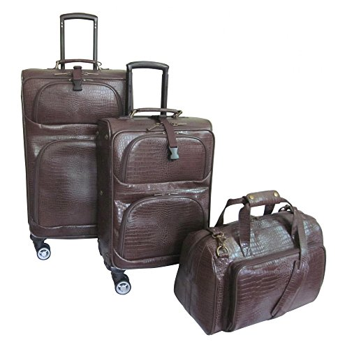 AmeriLeather Traveler Croco Print Leather 3pc Spinner Luggage (Dark Brown)