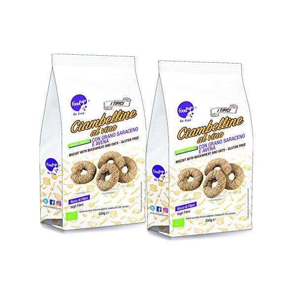 due confezioni di CIAMBELLINE AL VINO con grano saraceno e avena 200g (biscotti bio Senza glutine) - FOODUP