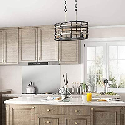 Buy Log Barn Rustic Farmhouse Chandelier 3 Lights Kitchen Island Lighting Fixture With Faux Wood Finish Industrial Rustic Oval Cage Pendant Lighting Online In Greece B07tcdn34w