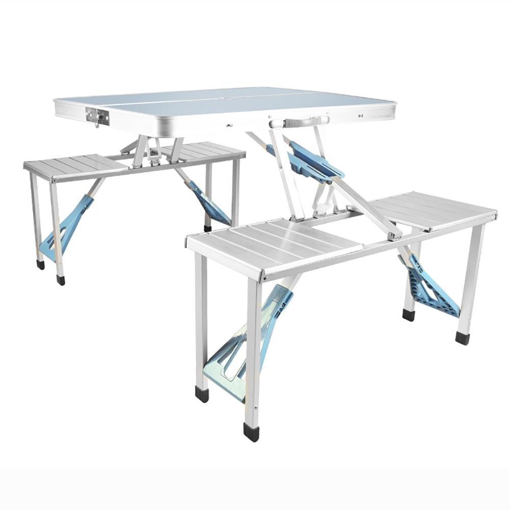 MIAO Outdoor einfache Box Typ Aluminium-Legierung 86 cm  67 cm Conjoined Falten Tische und Stühle