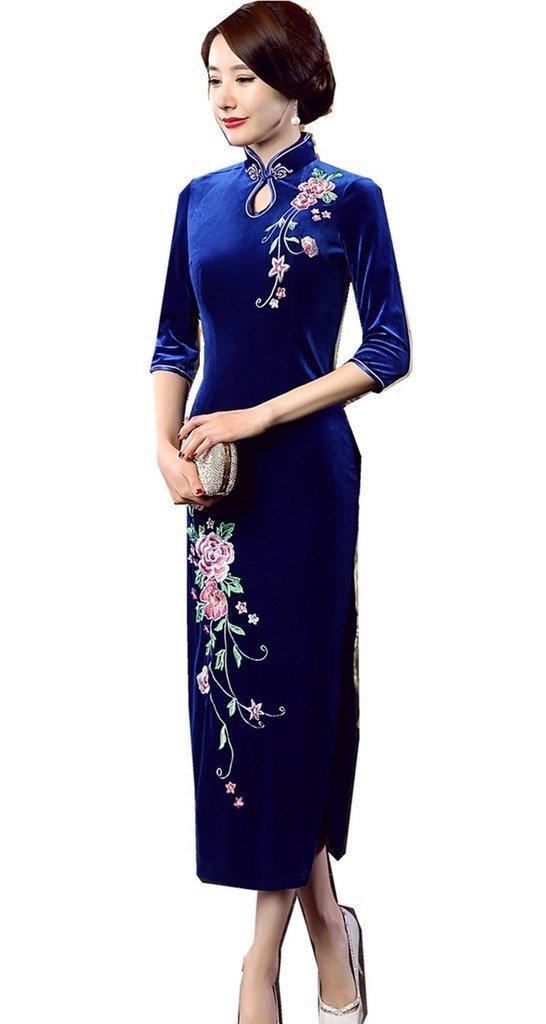 Shanghai Story Peacock Floral Embroidery Velvet Long Cheongsam Qipao Dress 4 Bl Blue