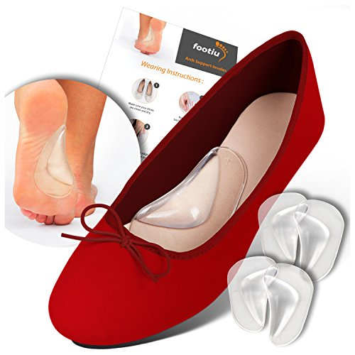 FOOTIU Arch Support Shoe Insert for Flat Feet, Plantar Fasciitis Insoles, Relieve Pain for Women and Men (2-Pairs)