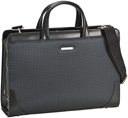 平野鞄 ビジネスバッグ ショルダーバッグ メンズ B4 A4 2ルーム 2室式 ブリーフケース 2way 黒 ブラック 千鳥 通勤 ビジネス 横幅42cm +オリジナル高級ムートングローブ