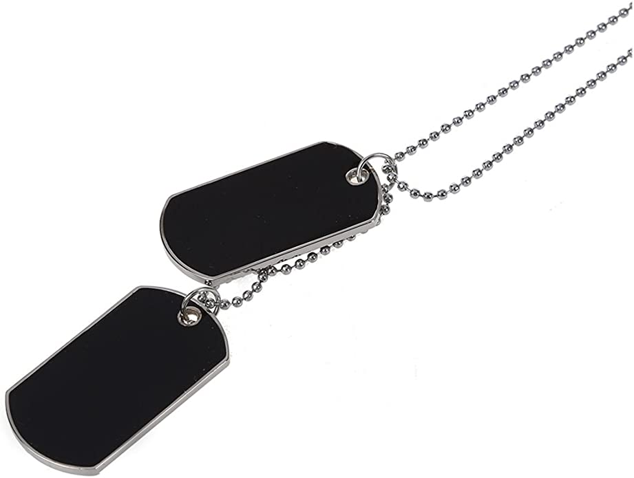 Army Style Double Dog Tag 2 Piece Pendant Necklace, Silver Chain: Amazon.ae