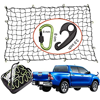 Seah Hardware 4 x 6 FT Super Duty Bungee Cargo Net for Truck Bed Stretches to 8 x 12 FT | 24 Pieces Universal Hooks| Small 4 x 4 Inches Mesh| Universal Heavy Duty Car Rear Organizer Net: Automotive