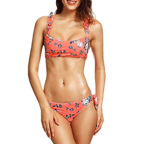 Traje de baño de las señoras Bikini de traje de baño de moda Pequeño Floral hoja dividida lado de impresión traje de baño Spa traje de baño de playa Bikini Rojo