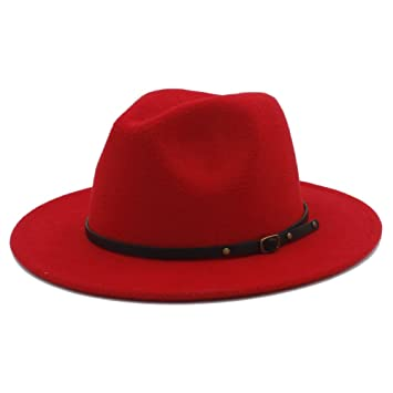796ce5b7b3eb3 Sunny Baby Sombreros de ala Ancha Fedora de Lana para Mujer Sombreros de  sombrerera de Jazz para