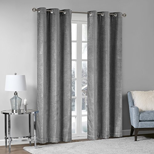 Madison Park Luxe Textured Chenille Fabric Darkening Window Curtain Panels Pair Blackout Drapes for Bedroom Living Room and Dorm, 42