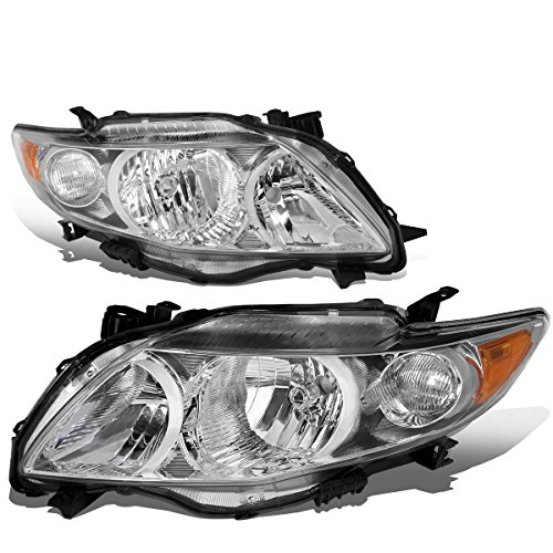 For 09-10 Corolla 10th Gen Pair of OE Style Chrome Housing Amber Corner Headlight