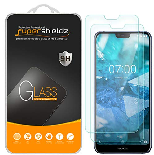 (2 Pack) Supershieldz for Nokia 7.1 Tempered Glass Screen Protector, Anti Scratch, Bubble Free (Big Nokia Screen)