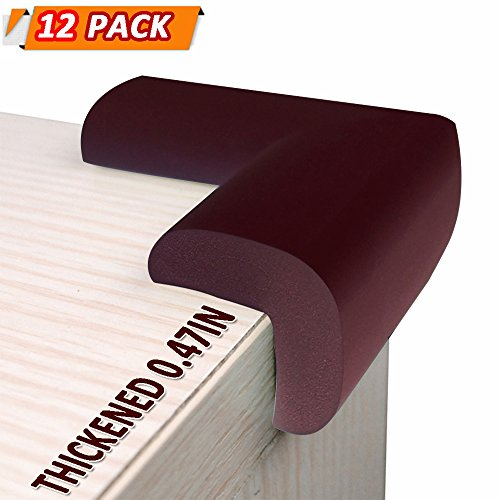Price comparison product image SUPER CORNER PROTECTORS COLLISION THICKENED CUSHIONS / Baby Caring Protection Baby Proof Corner Guards / Stop Child Head Injury / Protect Children Safe Baby Proofing -12 Pack (brown)