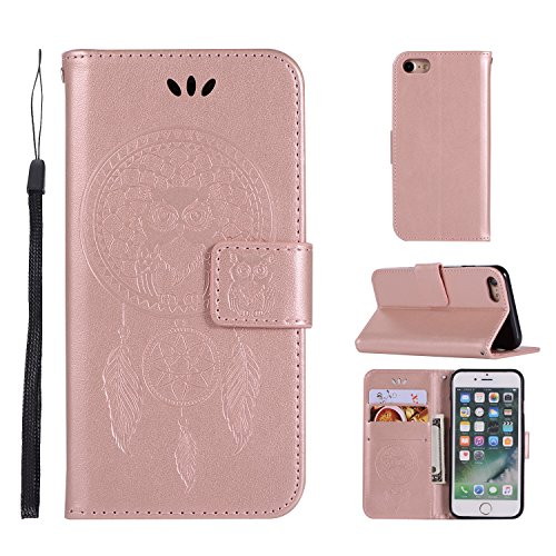 (iPhone 7 Wallet case,iPhone 8 Wallet case,Ztongy Flip Case Embossed Campanula Owl PU leather Soft TPU Cash card slot Bracket Function Protective Cover for iPhone 7 /iPhone 8)