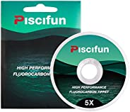 Piscifun Fluorocarbon Fly Fishing Tippet - Low Visibility - Superior Abrasion Resistance - 33yd(Size: 0X 1x 2X