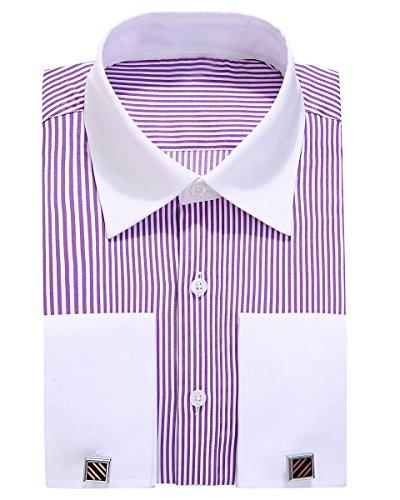 Purple Stripe Dress Shirt (Alimens & Gentle Contrast Collar Stripe French Cuff Regular Fit Dress Shirts(Color Stripe Purple, Size:15.5
