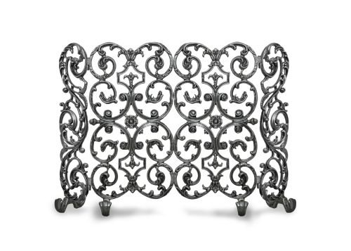 Ornamental Designs Avalon Traditional Hand-Painted-Finished Cast Aluminum 2-Panel Freestanding Fireplace Screen with Sides Matte Black