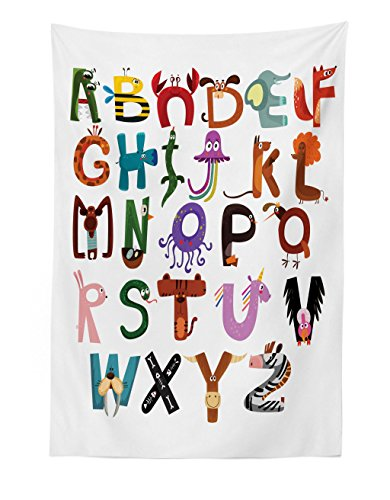 - Lunarable ABC Kids Tapestry, Funny Cartoon Children Alphabet with Elephant Fox Monkey Snake Animals Typography, Fabric Wall Hanging Decor for Bedroom Living Room Dorm, 30 W X 45 L inches, Multicolor