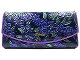 ArtsEye Peach Blossom Embossed Genuine Leather Trifold Wallet Clutch Purse (Purple 1)