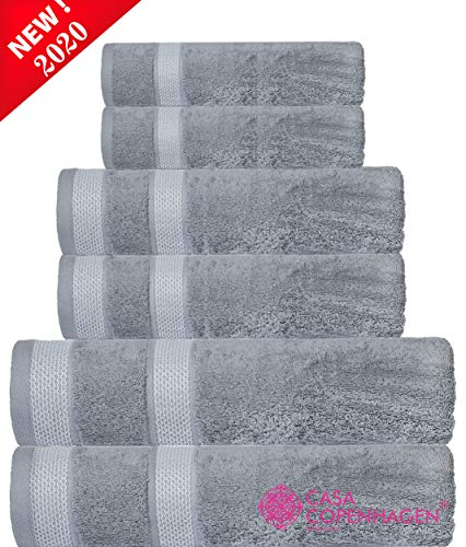 CASA COPENHAGEN Solitaire Luxury Hotel & Spa Quality, 600 GSM Egyptian Cotton, 6 Piece Turkish Towel Set, Includes 2 Bath Towels, 2 Hand Towels, 2 Washcloths, Grey Violet