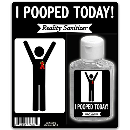 I Pooped Today Hand Sanitizer – 2 oz Antibacterial Sanitizer Silly Poop Gifts for Any Occasion Gag Gifts for Men Stocking Stuffers for Friends Constipation Relief Over the Hill Happy Poop Retirement