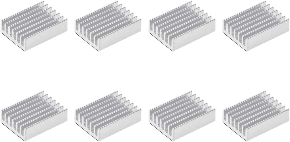 uxcell 6x14x14mm Silver Tone Aluminum Heatsink Thermal Adhesive Pad Cooler for Cooling 3D Printers 4Pcs