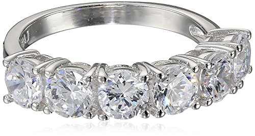 Platinum Plated Sterling Silver Round Cubic Zirconia Ring, Size 7