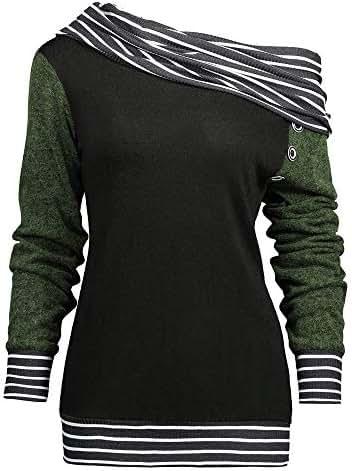 Fashion Women Skew Neck Long Sleeve Stripe Patchwork Button Sweatshirt Top Casual Contrast Pullover Hoodie Top