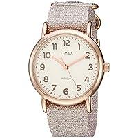 Timex Women's TW2R92400 Weekender 38 Metallic Blush Fabric Slip-Thru Strap Watch