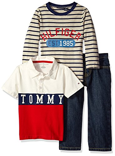 Tommy Hilfiger Little Boys' Stripes Long Sleeve, Polo and Pants Set, Vanilla, - Sale Tommy Kids