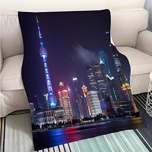 (BEICICI Comforter Multicolor Bed or Couch Pudong Financial District Skyline Shanghai China Art Blanket as Bedspread Gold White Bed or Couch)