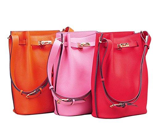 Purse Ainifeel Genuine Women's Bucket Handbags Red Leather Hobo Shoulder 0aF0xq7