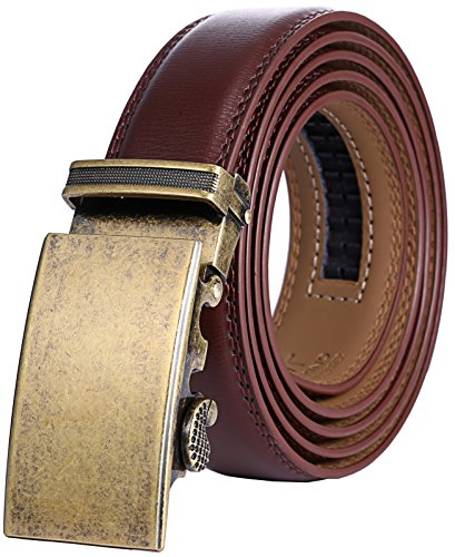 Marino Men's Genuine Leather Ratchet Dress Belt with Automatic Buckle, Enclosed in an Elegant Gift Box - Gold Vintage Buckle with Brown Leather - Custom: Up to 44
