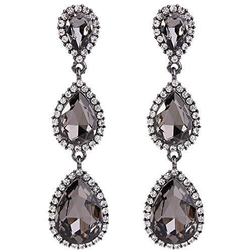 Grey Teardrop Earrings - EleQueen 925 Sterling Silver Full Cubic Zirconia Teardrop Bridal Dangle Earrings Grey