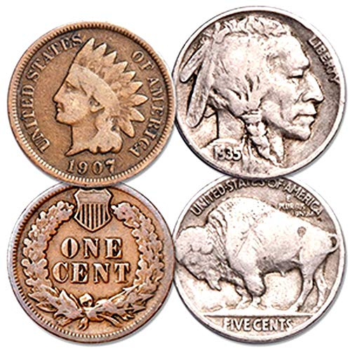 1907 Various Mint Marks GENUINE INDIAN HEAD PENNY + BUFFALO NICKEL! BOTH FOR 1 LOW PRICE! EENT (G-VG), NICKEL (F-VF)