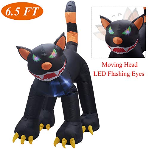 Halloween Inflatables Cat (Twinkle Star Inflatable Halloween 6.5 ft Black Cat with LED Flashing Eyes and Moving Head, Home Yard Lawn Garden Party Outdoor)