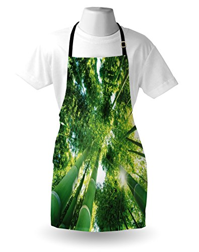 Lunarable Bamboo Apron, Low Angle View of Bamboo Tree Tops Asian Zen Tranquil Lands Jungle Meditation Spa Theme, Unisex Kitchen Bib Apron with Adjustable Neck for Cooking Baking Gardening, Green by Lunarable (Image #2)