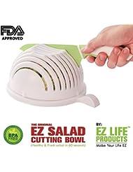 The Original EZ SALAD CUTTING BOWL   60 second salad maker   serves for 3 people   salad cutter bowl without making a kitchen mess   salad bowl that saves time   salad chopper   1 minute salad maker
