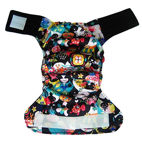 Charcoal Bamboo AIO All-In-One Cloth Diaper with Pocket, Velcro (Sea)