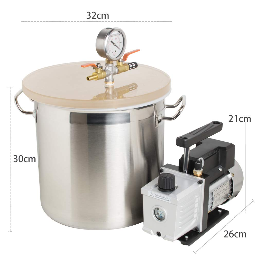 zinnor 5 Gallon Stainless Steel Vacuum Degassing Chamber Silicone Kit w//3 CFM Pump Hose Canada Shipping