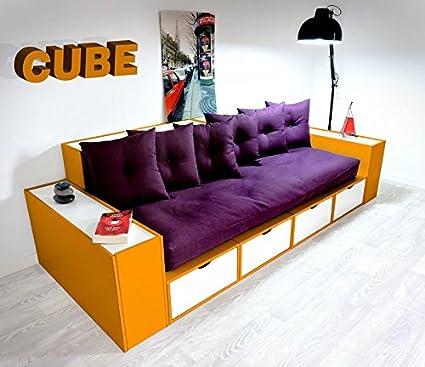 Sofá cubos naranja cajones, color blanco con futon y cojines ...