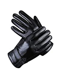 Men Leather Gloves Ulstar Touch Screen Winter Texting Driving Gloves(Black)