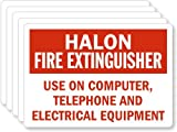 Halon Fire Extinguisher Use On Computer/ Telephone/ Electrical Equipment, Laminated Vinyl Labels, 5 Labels / Pack, 5