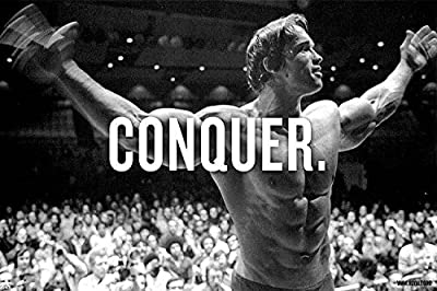 CONQUER ARNOLD SCHWARZENEGGER Motivational Art Silk Wall Poster Large Bodybuilding Pictures For Wall - 24x36 inch (60x90cm)