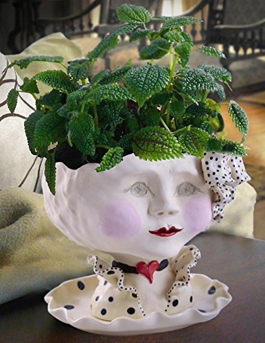 Victorian Lovelies Sculpted Indoor Head Planter: Dotty Debutante Version