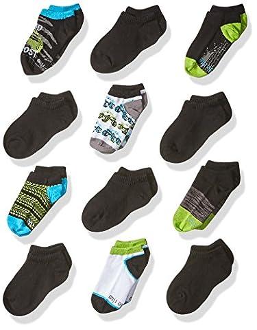 Stride Rite Little Boys' 12 Pack Show, Monster Trucks-Black, Sock: 7-8.5 / Shoe: 10-13