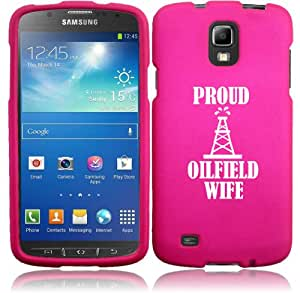 Samsung Galaxy S4 ACTIVE i537 Snap On 2 Piece Rubber Hard Case Cover Proud Oilfield Wife (Hot Pink)