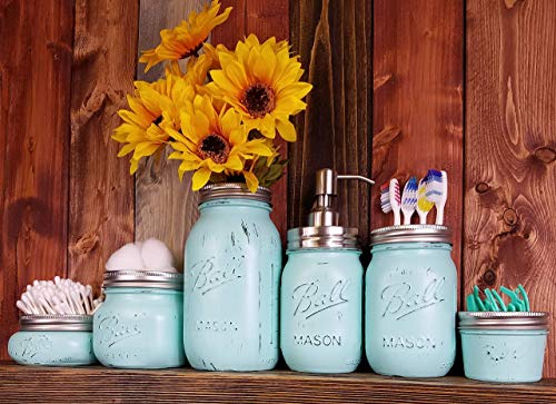 Custom 4, 5 or 6 Piece Painted Mason Jar Bathroom Set with Soap Dispenser Lid – Bathroom Accessories – Rustic Farmhouse Decor – Country Chic Decor – Available in 20 Colors – Sea Blue