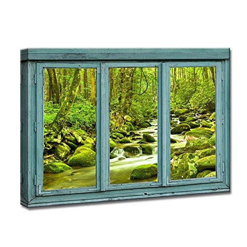 (iKNOW FOTO Canvas Prints Vintage Teal Window Frame Style Water Cascades Over Moss Covered Rocks in Great Smoky National Park Wall Art Modern Painting Landscape Picture for Home Decoration)