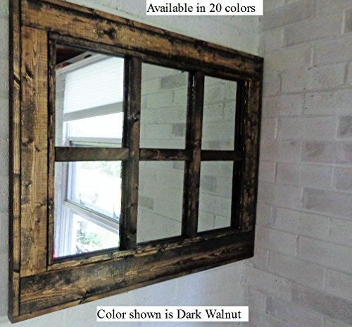 Renewed Décor 6 Pane Herringbone Reclaimed Wood Mirror in 20 Stain colors - Large Wall Mirror - Rustic Modern Home - Home Decor - Mirror - Housewares - Woodwork - Frame - Stained Mirror (Pane 6 Mirror Window)