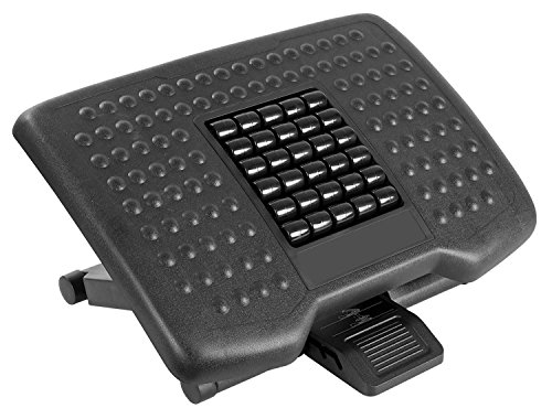 Mount-It! Ergonomic Footrest with Massaging Rollers Adjustable Angle and Height Office Foot Rest Stool for Under Desk Support, 18 x 13 in, 3-Level Height Adjustment, Black by Mount-It!