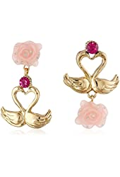 "Betsey Johnson ""Lucky Charms"" Swan Mismatch Double Drop Earrings"